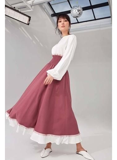 Vivencia Poplin Bedenli Visolin Kadın Elbise Tarçın Renkli